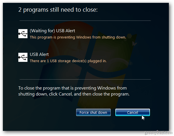 USB Alert Windows 7