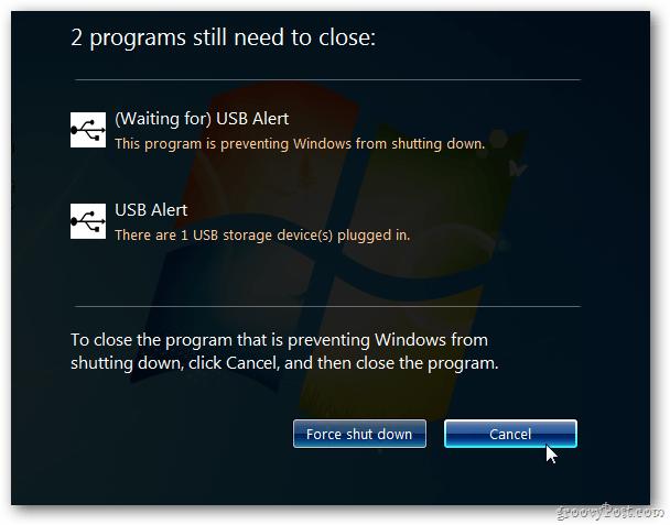 USB Alert Windows 7
