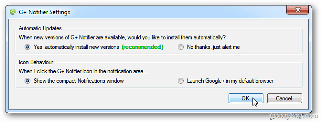 G+ Notifier Settings