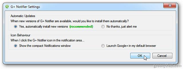 G+ Notifier Settings