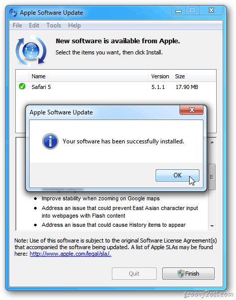Safari Update Success