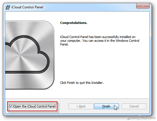 iCloud Control Panel for Windows
