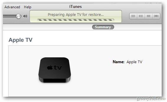 Apple TV Restore Progress