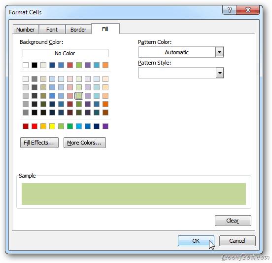 excel fill pattern
