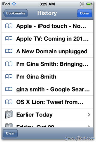 Safari History iPod
