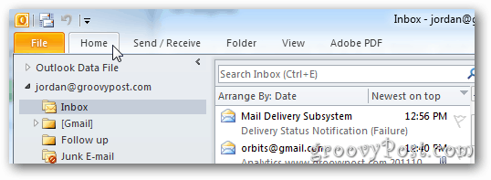 outlook 2010 how to show outbox