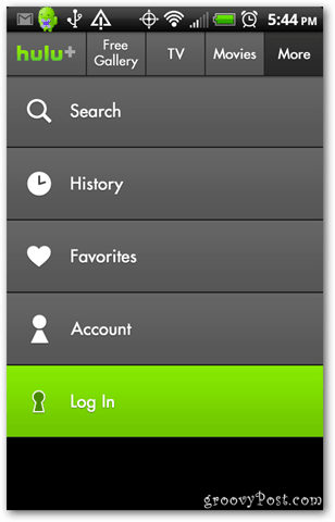 Hulu Plus Android app login