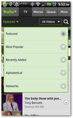 Hulu Plus Android sorting