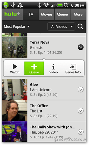 Hulu Plus Android Queue