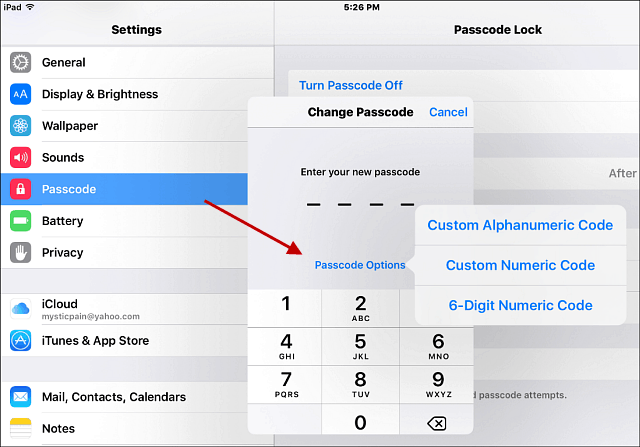 Stong password iOS 9