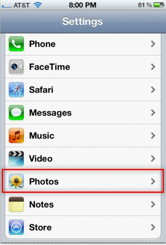 iPhone Settings Photos