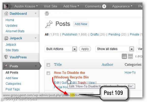 find the wordpress post id within wp-admin/edit