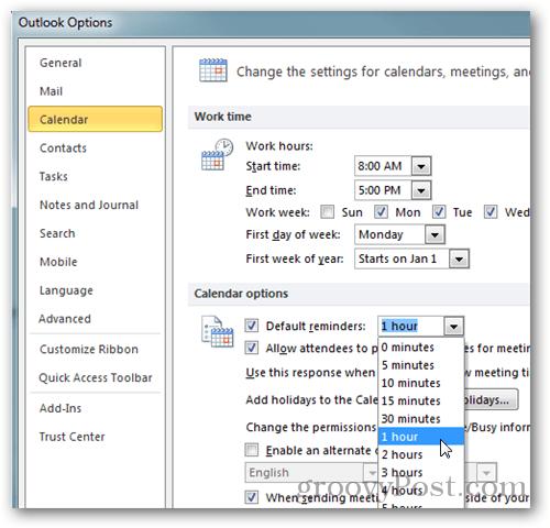 Outlook 2010 Calendar Options
