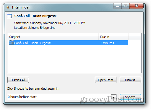 outlook 2010  how to change the default reminder for