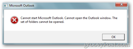 """Cannot start Microsoft Outlook. Cannot open the Outlook window. The set of folders cannot be opened."""