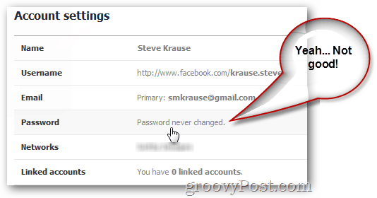 facebook displaying last password change