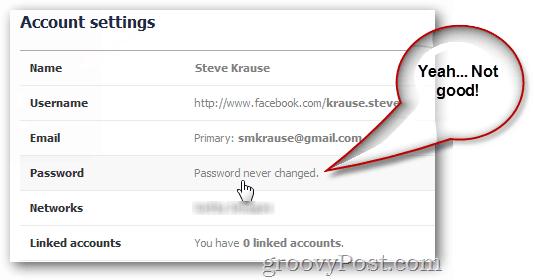 facebook displaying last password change
