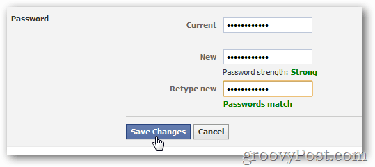 click save changes to enable new password