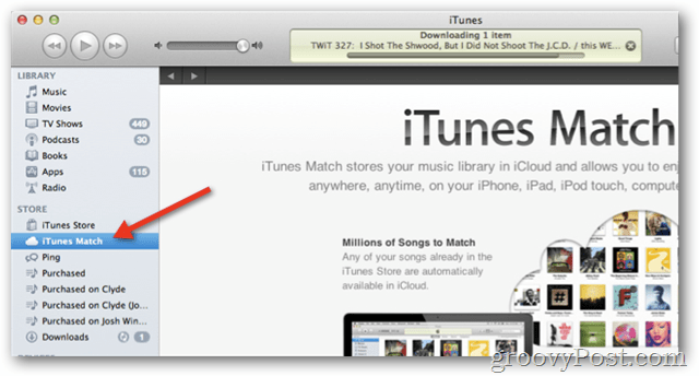 itunes match in iTunes 10.5.1