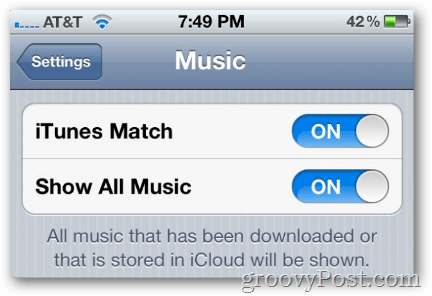 enable itunes match on ios