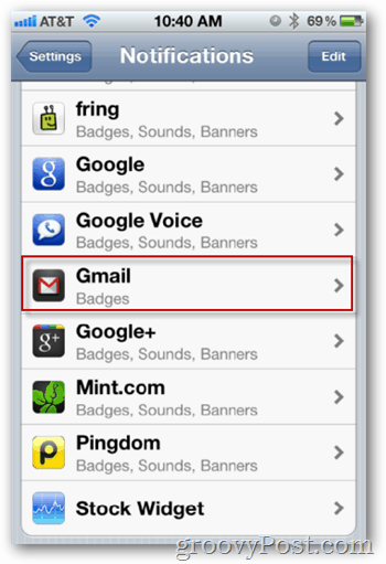 Tap Gmail