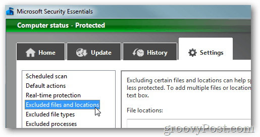 MSE settings excluded files and folders