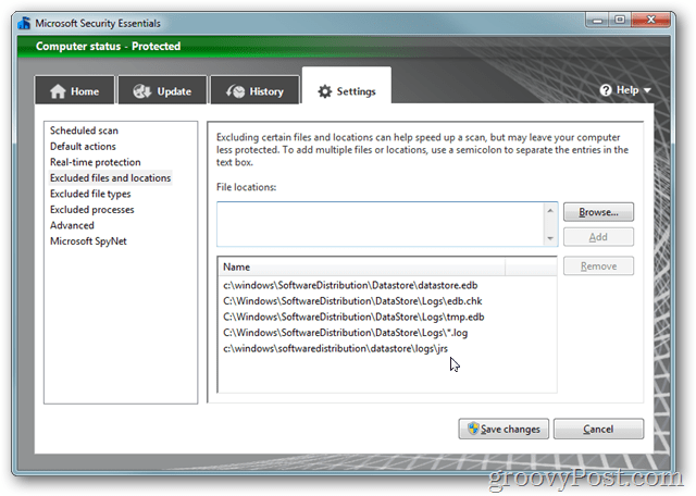 MSE settings excluded files and folders Add