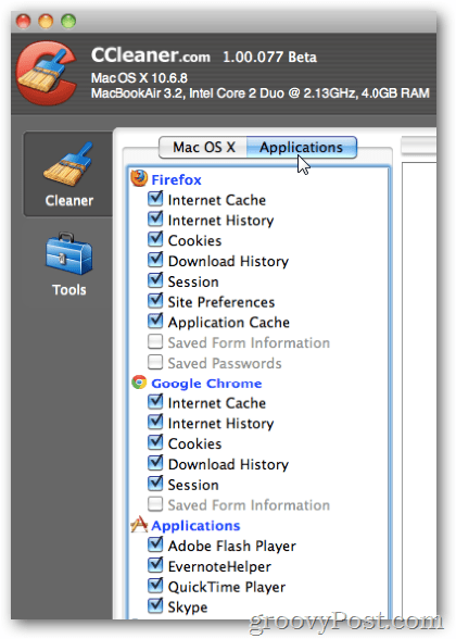 ccleaner Applications Menu