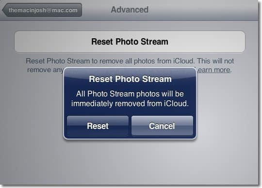 reset photo stream