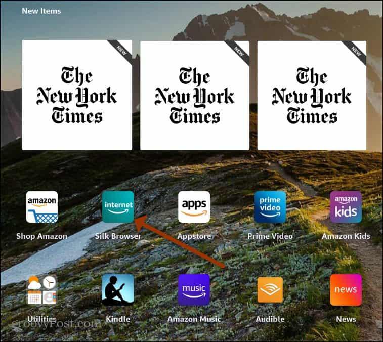 Launch Silk Browser Fire HD