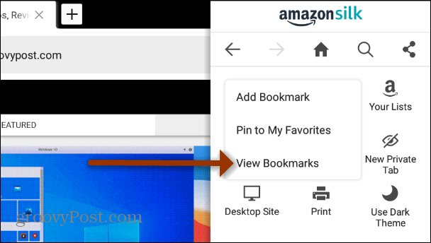 View Bookmarks Fire HD