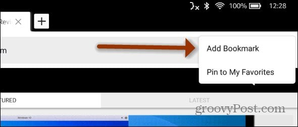 Add Bookmark Fire HD Silk Browser