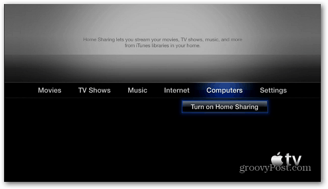 Apple TV Turn on Home Sharing