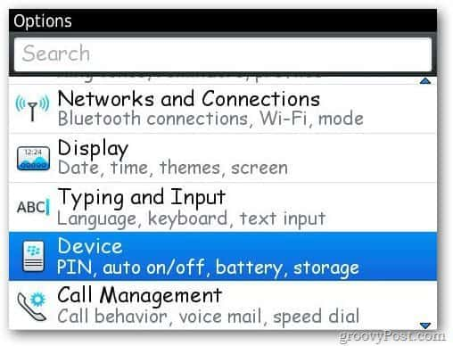 Blackberry Device Options