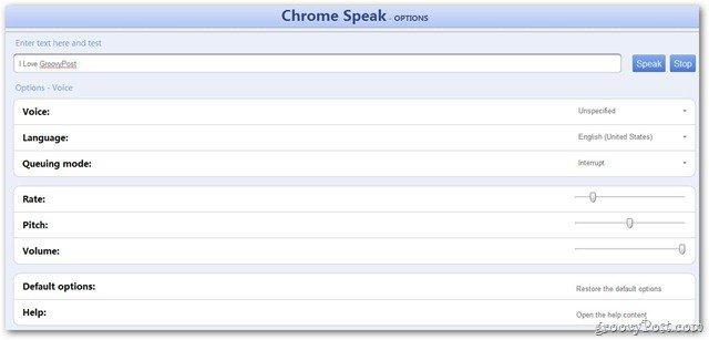 Chrome Speak Options