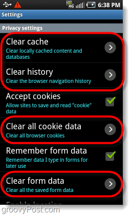 Clear History Cache
