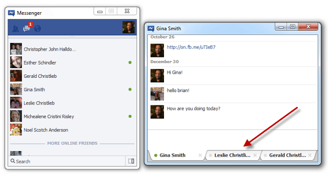 Facebok Messenger Tabbed Chat