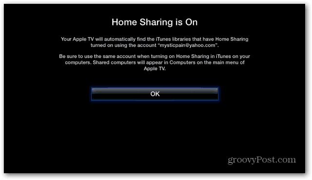 Home Sharing On Apple TV