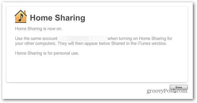 Home Sharing On