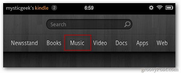 Kindle Home Screen Music