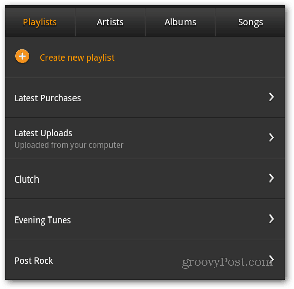 Playlists Kindle Fire