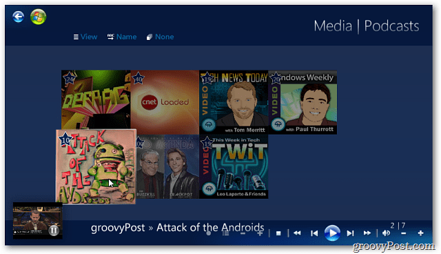 Podcasts in Windows 7 Media Center