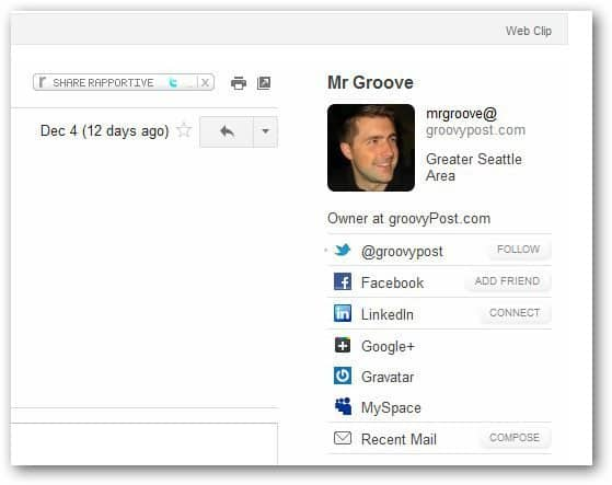 Rapportive Contact details