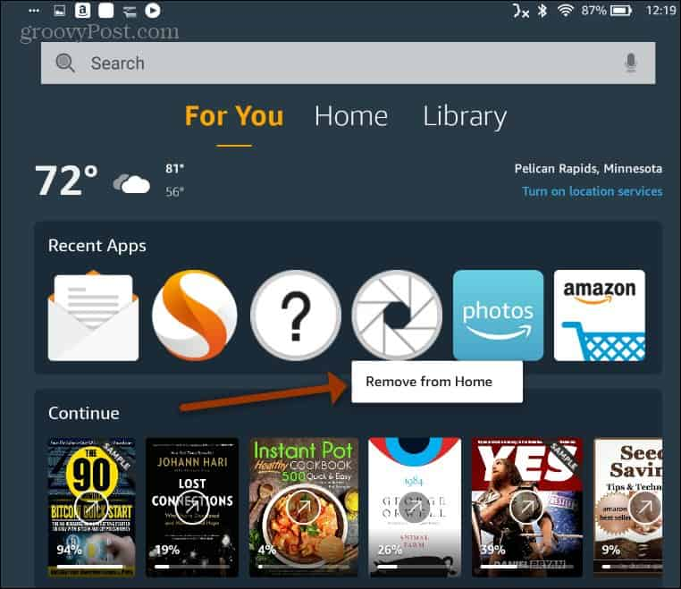Remove item from Home Fire HD