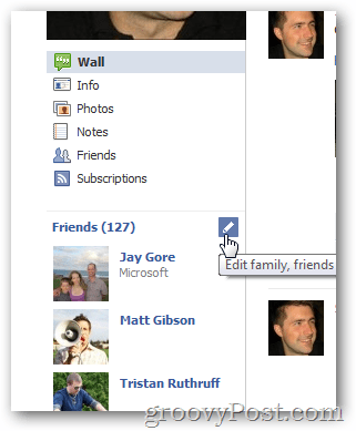 Edit facebook friends list options