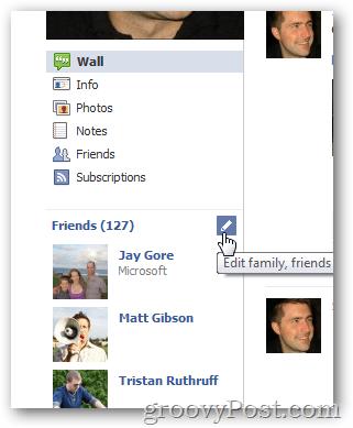 Edit facebook friends list options