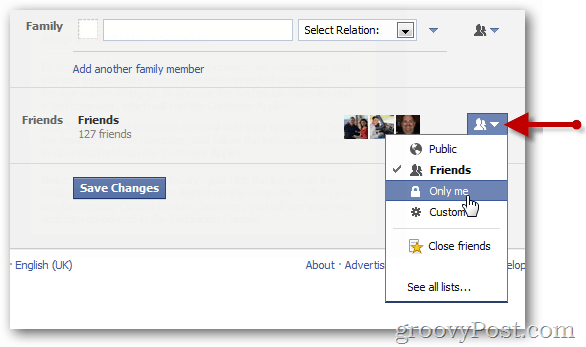 Edit facebook friends list visibility