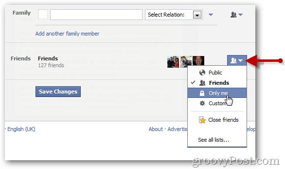 Edit facebook friends list visibility