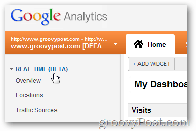 google analytics expand real-time beta menu