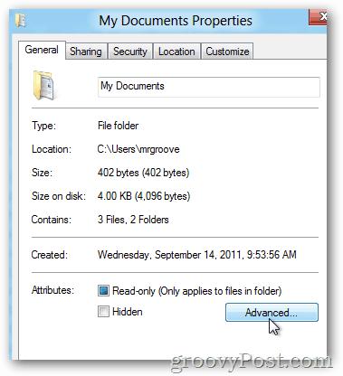 Windows 8 Advanced Properties